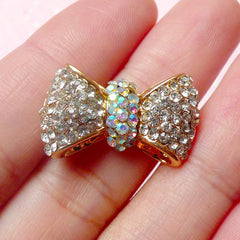 Bow Bowtie Metal Cabochon (Gold with Clear and AB Clear Rhinestones / 24mm x 14mm) Phone Case Decoden Scrapbooking Earring Making CAB326