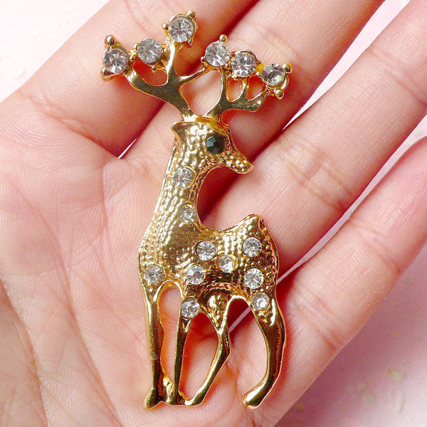 Reindeer Metal Cabochon (Gold with Clear Rhinestones / 28mm x 61mm) Animal Phone Case Deco Scrapbooking Christmas Decoration Decoden CAB327