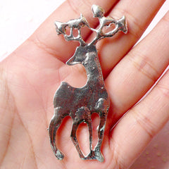 Reindeer Metal Cabochon (Silver w/ AB Clear Rhinestones / 28mm x 61mm) Phone Case Deco Scrapbooking Christmas Decoration Decoden CAB329