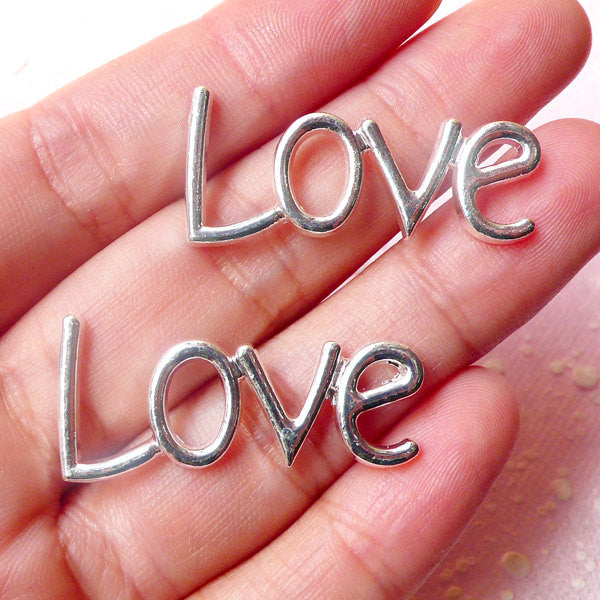Love Cabochon (Silver / 33mm x 15mm / 2pcs) Kawaii Decoden Bracelet Pendant Jewelry Making Scrapbooking Phone Case Deco Valentines CAB334