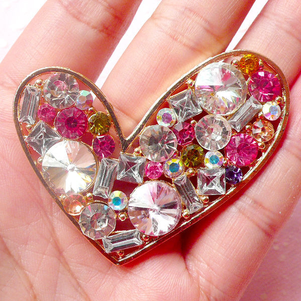 Heart Metal Cabochon (Gold with Mixed Rhinestones / 53mm x 47mm) Bling Bling Phone Case Deco Kawaii Scrapbooking Decoden Supplies CAB335