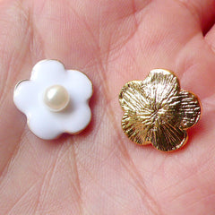CLEARANCE White Flower Cabochon (White & Gold w/ White Pearl / 15mm / 2pcs) Jewelry Earrings Hair Clip Making Scrapbooking Phone Case Decoden CAB336