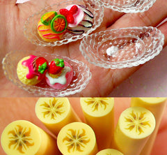 Miniature Banana Split Boat Bowl Charms (43mm / 4 pcs / Clear) & Banana Polymer Clay Cane (25mm Long) DIY Dollhouse Sweets Ice Cream MC27