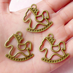 CLEARANCE Rocking Horse Charms (3pcs) (28mm x 30mm / Antique Bronze) Metal Pendant Kawaii Bracelet Earrings Zipper Pulls Bookmark Keychains CHM577