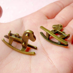 3D Rocking Horse Charms (4pcs) (26mm x 20mm / Antique Bronze / 2 Sided) Cute Pendant Bracelet Earrings Zipper Pulls Bookmark Keychain CHM578