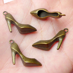 3D High Heel Charms (4pcs) (18mm x 22mm / Antique Bronze / 2 Sided) Metal Pendant Bracelet Earrings Zipper Pulls Bookmarks Key Chains CHM588