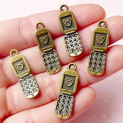 CLEARANCE 3D Cell Phone Charms (5pcs) (8mm x 27mm / Antique Bronze / 2 Sided) Miniature Dollhouse Earrings Bracelet Zipper Pulls Keychain CHM594