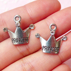 Princess Crown Charms w/ Clear Rhinestones (2pcs) (19mm x 17mm / Tibetan Silver) Kawaii Pendant Bling Bracelet Earrings Zipper Pulls CHM613