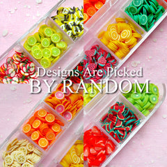 FRUIT Polymer Clay Cane Assorted Slices Mix & Container Miniature Fimo Fruit Kawaii Decoration Nail Art Deco (over 1000pcs by RANDOM) CMX100