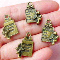 Birth Certificate Charms Baby Charms (4pcs) (14mm x 21mm / Antique Bronze / 2 Sided) Scrapbooking Bracelet Zipper Pulls Keychains CHM600