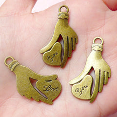 Love You Charms w/ Hand & Heart (3pcs) (20mm x 34mm / Antique Bronze / 2 Sided) Pendant Valentines Bracelet Bookmark Keychains CHM605