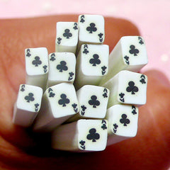 Playing Card Polymer Clay Cane Ace of Club Fimo Cane Decoden Clay Cane (Cane or Slices) Poker Card Nail Art Las Vegas Decoration CE068