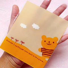 Kawaii Bear Gift Bags (20 pcs / Orange) Self Adhesive Resealable Transparent Plastic Bags Gift Wrapping Packaging (10.4cm x 12.5cm) GB078