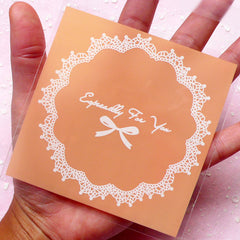 Especially For You Gift Bags w/ Doily & Ribbon Pattern (20 pcs / Light Orange) Self Adhesive Resealable Plastic Bags (9.7cm x 9.9cm) GB071