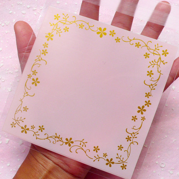 Clear Gift Bags w/ Golden Decorative Border (20 pcs / Pink) Self Adhesive Resealable Plastic Bags (11.9cm x 12.1cm) GB073