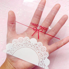 Clear Gift Bags with Kawaii Cake Doilies Pattern (20 pcs) Self Adhesive Resealable Plastic Handmade Gift Wrapping Bag (11cm x 9.5cm) GB079