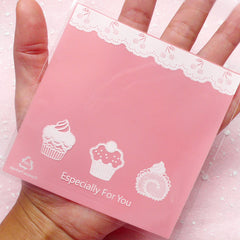 DEFECT Kawaii Pink Gift Bags w/ Cupcake & Sweets Pattern (20 pcs) Self Adhesive Resealable Clear Plastic Gift Wrapping Bags (10.1cm x 10.1cm) GB081