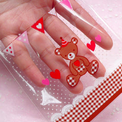 Clear Gift Bags with Kawaii Bear (20 pcs) Self Adhesive Resealable Plastic Gift Wrapping Bags Cookie Chocolate Bags (9.9cm x 11cm) GB089