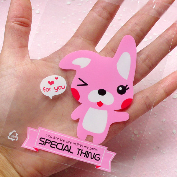 Clear Gift Bags w/ Kawaii Rabbit Bunny (20pcs / Pink) Self Adhesive Resealable Plastic Gift Wrapping Bags Cookie Bags (9cm x 10.1cm) GB090