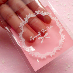 Especially For You Gift Bags w/ Doily & Ribbon Pattern (20 pcs / Pink) Self Adhesive Resealable Clear Plastic Bags (7.1cm x 7.1cm) GB098