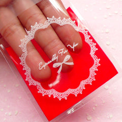 Especially For You Gift Bags w/ Doily & Ribbon Pattern (20 pcs / Red) Self Adhesive Resealable Clear Plastic Bags (6.9cm x 7cm) GB102