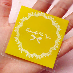 Especially For You Gift Bags w/ Doily & Ribbon Pattern (20 pcs / Yellow) Self Adhesive Resealable Clear Plastic Bags (6.9cm x 7cm) GB100