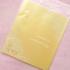 DEFECT Lace Doily Semi Clear Gift Bags (20pcs / Yellow) Kawaii Self Adhesive Resealable Plastic Bag Packaging Bag (10.4cm x 12.5cm) GB106
