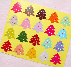 CLEARANCE Christmas Tree Sticker Set (Colorful / 20pcs) Seal Sticker Scrapbooking Packaging Christmas Party Gift Wrap Deco Collage Home Decor S139