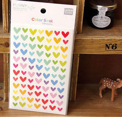 Color Seal Sticker Set (6 Sheets / Heart) Kawaii Colorful Scrapbooking Packaging Party Decor Gift Wrap Diary Deco Collage Home Decor S163