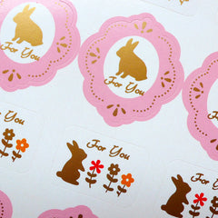 For You Rabbit Bunny Sticker (2 Sets / 24pcs) (Pink) Kawaii Seal Sticker Scrapbooking Packaging Party Gift Wrap Collage Home Decor S158