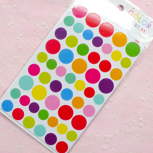 Color Seal Sticker Set (6 Sheets / Round / Dots / Circle) Scrapbooking Packaging Party Decor Gift Wrap Diary Deco Collage Home Decor S161