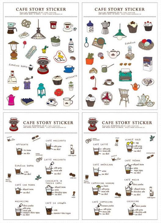 Cafe Story Sticker (4 Sheets / Translucent) Ann House Kawaii Sweets Scrapbooking Gift Wrap Diary Deco Collage Party Decoration Coffee S172