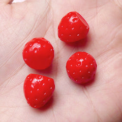Mini Strawberry Cabochons Kawaii 3D Fruit Cabochon (4pcs / 12mm x 12mm) Dollhouse Fake Food Craft Miniature Sweets Decoden Supplies FCAB205