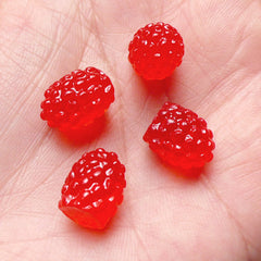Fake Food Cabochon / 3D Raspberry Cabochons / Mini Berry Cabochon (4pcs / 10mm x 12mm / Red) Kawaii Fruit Decoden Faux Sweets Deco FCAB208