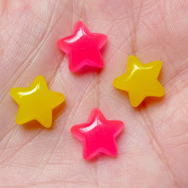 Kawaii Cabochon / Jelly Star Candy Cabochon / Puffy Star (4pcs / 11mm / Yellow & Dark Pink) Decoden Embellishment Earrings Making FCAB211