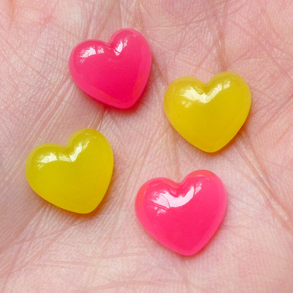 Puffy Heart Jelly Candy Cabochons (4pcs / 12mm x 11mm / Pink & Yellow) Kawaii Phone Case Japanese Decoden Cute Stud Earrings Making FCAB212