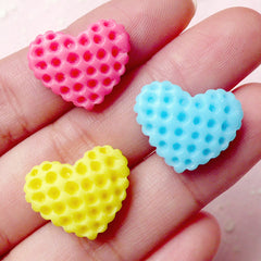 Heart Waffle Cabochon / Kawaii Decoden Pieces (3pcs / 19mm x 15mm / Pastel Color Mix) Miniature Biscuit Dollhouse Cookie Sweets Deco FCAB207