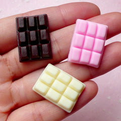 Chocolate Bar Cabochons (3pcs / 16mm x 22mm / Pink, Brown & Cream) Fimo Dollhouse Sweets Fake Miniature Cupcake Topper Kawaii Supply FCAB217