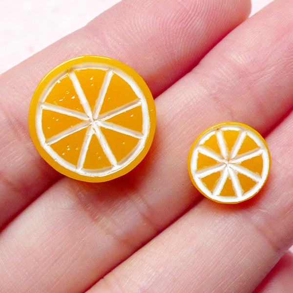 Kawaii Orange Slice Cabochons (2pcs / 10mm & 16mm) Dollhouse Fruit Cabochon Miniature Toppings Fake Sweets Deco Cute Embellishment FCAB227