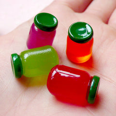 Jam Bottle Cabochons (4pcs / 11mm x 16mm / Grape Kiwi Strawberry Orange Apricot / 3D) Dollhouse Food Miniature Jam Making Doll Food FCAB231