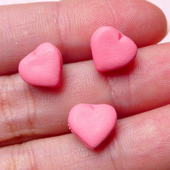 Tiny Heart Macaron Cabochon (3pcs / Strawberry Pink / 10mm x 9mm) Miniature Sweets Dollhouse French Macaroon Doll Food Mini Dessert  FCAB236