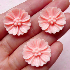 Flower Cabochon (3pcs / 21mm / Pink) Floral Cabochon Scrapbooking Decoden Cell Phone Deco Jewelry Hair Clip Making CAB342
