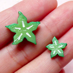 Dollhouse Star Fruit Slice Cabochons / Miniature Carambola Cabochon (2pcs / 10mm & 16mm) Kawaii Decoden Pieces Stud Earrings Making FCAB222