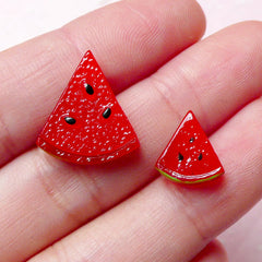 Resin Fruit Cabochon / Watermelon Slice Cabochon / Dollhouse Miniature Food Cabochon (2pcs / 11mm & 17mm) Scrapbook Decoden Supplies FCAB223