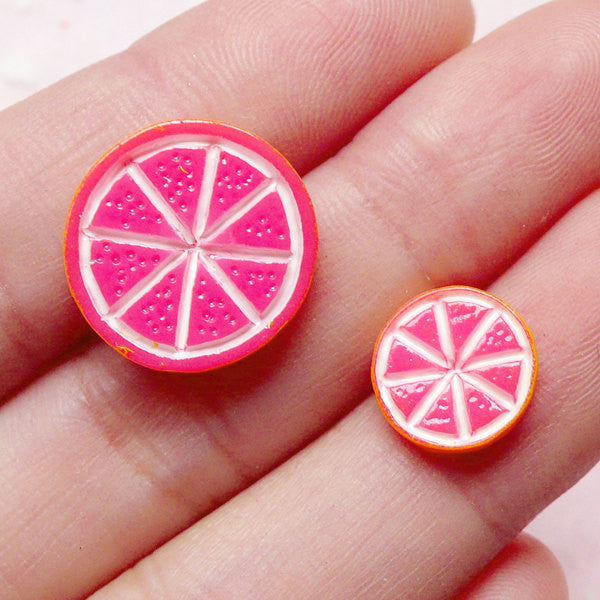 Kawaii Dollhouse Fruit Cabochon / Grapefruit Slice Cabochons (2pcs / 10mm & 15mm) Miniature Food Jewelry Fake Toppings Sweets Deco FCAB224