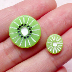 Fake Kiwi Slice Cabochons / Miniature Fruit Dollhouse Food (2pcs / 10mm & 17mm) Kawaii Cupcake Toppers Decoden Phone Case Doll Craft FCAB225