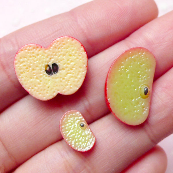 Mini Apple Slice Cabochons / Doll Food Cabochon (3pcs / 6mm, 12mm & 18mm) Miniature Dollhouse Fruit Kawaii Jewelry Fake Food Craft FCAB226