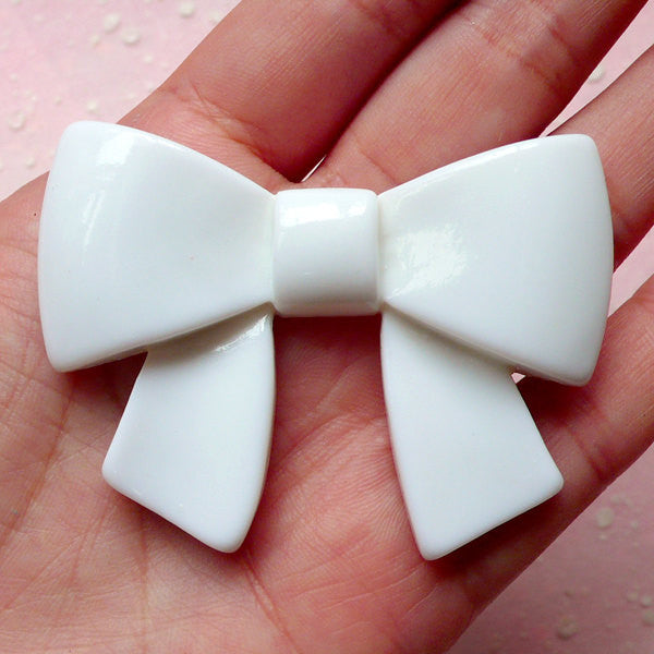 Ribbon Cabochon (59mm x 46mm / White) Kawaii Big Cabochon Cell phone Deco Decoden Scrapbooking Home Decor CAB340