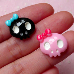 Kawaii Decoden Skull Cabochon with Bow (2pcs / 17mm x 16mm / Pink & Black / Flat Back) Princess Skull Cell Phone Deco Hair Pin Making CAB344