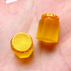 Dollhouse Honey Jam Bottle Cabochons (2pcs / 12mm x 15mm) 3D Miniature Jam Making Mini Food Craft Doll Food Craft Kawaii Supplies FCAB238